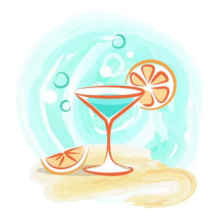 Refreshing Cocktail with Slice of Orange on Beach Illustration