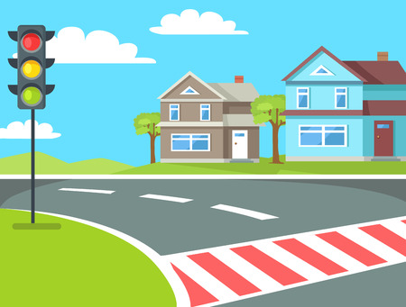 Pedestrian crossing with traffic lights sign on the road at rural countryside vector illustration. Home buildings on background of blue sky