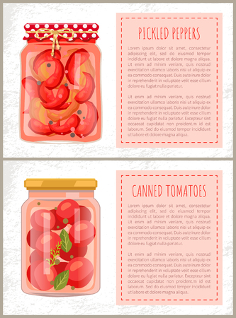 Preserved food poster home cooked pickled red pepper and tomatoes in glass jar in rustic style. Conserved chilli, spicy vegetables vector isolated, text sample
