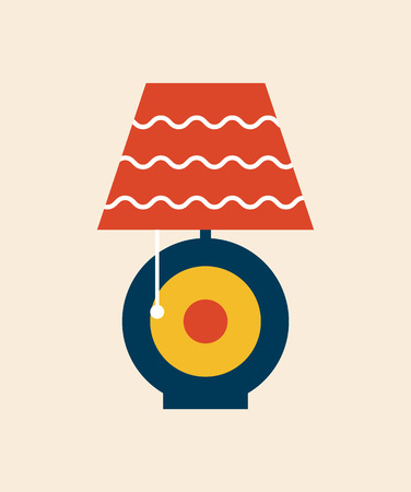 Table lampshade of modern style with curved lines pattern and rounded stand shape with object turning it on, vector illustration isolated flat style icon