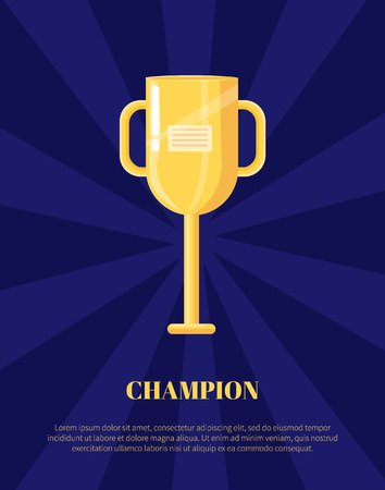 Champion shiny award, goblet with handles and label isolated on blue, rewarding icon, poster in cartoon style. Golden trophy cup vector illustration