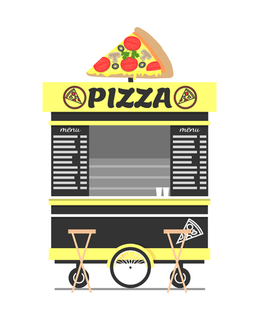Pizza Cart Street Food Shop Vector Illustration