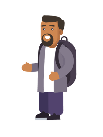 Male smiling standing calmly trying to show something with help of gestures, bearded man wearing rucksack, vector illustration, isolated on white