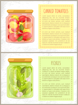 Canned tomatoes and cucumbers posters with information. Vegetables conserved with leaves and garlic in water. Preservation food vector illustration