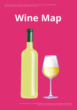 Wine Map Poster with White Wine Bottle and Glass