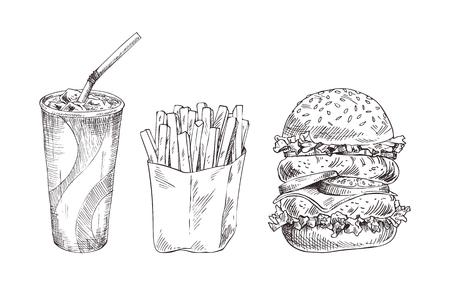 Conjunto de comida rápida bosquejo monocromo de vector dibujado a mano
