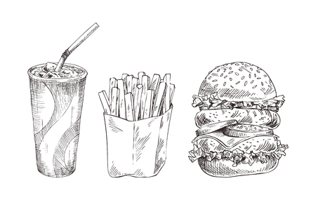Fast food set hand drawn vector monochrome sketch Stock fotó - 112468852