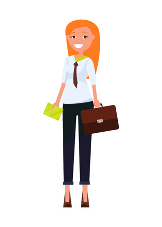Consultant elegant business woman pretty girl in formal wear vector executive manager isolated, professional employer with envelope and handbag Illustration