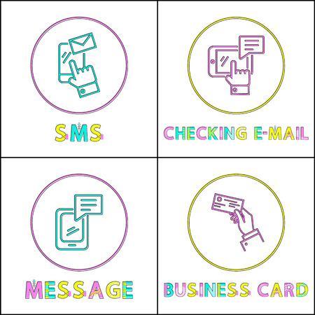 Sms and checking mail posters set titles. Message and business card given by businessmans hand. Smartphone screen human finger vector illustration Illustration