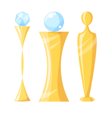 Award and trophy with crystal ball on top. Human body figure as prize. Winners golden and glass items, icons set, isolated on vector illustration