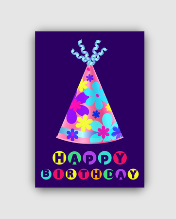 Happy Birthday Card Closeup Vector Illustration