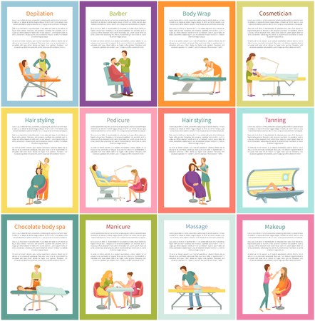 Depilation and Tanning Cosmetician Posters Vector
