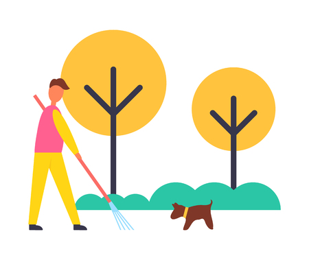 Farmer working in autumn garden with rake removing fallen leaves. Pet dog canine with man farming and cleaning yard. Yellow trees isolated vector icons