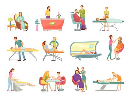 Salon de spa pédicure et procédures de salon de coiffure icônes isolées vecteur. Réceptionniste à l'accueil, massage et masseur, processus de bronzage et esthéticienne