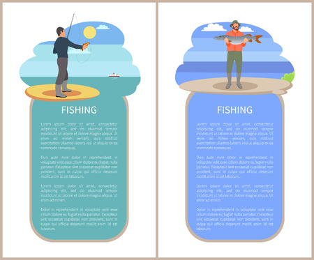 Fishing lake or river poster with text sample in frame. Vector flat fisherman with rod and perch fish, guy on water back holding big catch in hands.