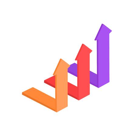 Les flèches pointant vers le haut indiquent une augmentation. Pointeurs de direction pour les graphiques ou les panneaux d'instructions. Illustration vectorielle de symboles incurvés colorés isolée.