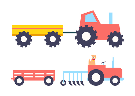 Agrimotor farming tractors set icons. Auto for cultivating ground farm transportation with trailer and plough. Vehicle of farmers isolated vector signs