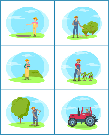 Farmer holding piglet isolated set vector. Woman sowing seeds in ground, tractor agricultural machinery. Man raking compost and watering plantation