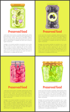 Preserved food in marinade inside jars posters set. Cucumbers with bay leaf, Greek olives, cherry tomatoes and sour lime slices vector illustrations.