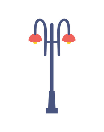 Street lamp icon vector illustration isolated on white backdrop. Traditional outdoor lantern, lighting outdoor equipment electric bulb illuminated sign