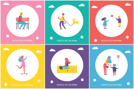 People in park entertaining, cartoon banner set isolated vector character. Kids playing volleyball and girl riding on skateboard, guy walking dog on leash Иллюстрация