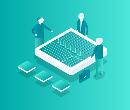 Blockchain meeting of people, man discussing financial issues of cryptocurrency. Table in form of computer plate workers talking isometric 3d vector