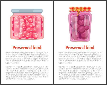 Preserved food posters set with text sample and jars filled with jam and conserved sweet plums. Dessert in glass container with sugar addition vector