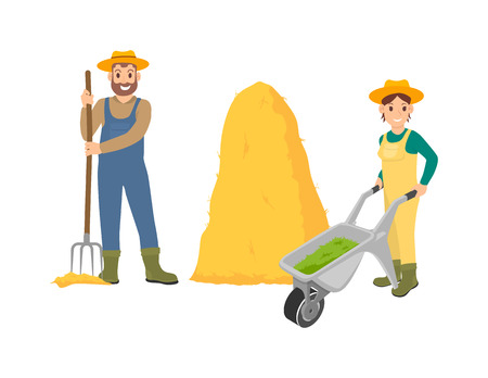 Farming person with hayfork standing by bale dry grass. Woman pushing trolley filled with compost for soil. People on farm isolated icons set vector