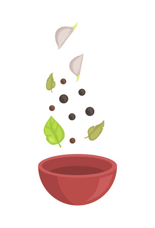 Spice falling down into wooden bowl, vector badge. Garlic chive, fragrant pepper peas and bay leaves in the air over clay soup plate, isolated set