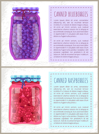 Canned blueberries and raspberries in jars banners set. Preserved berries inside glass containers beside text, conserved food, vector illustrations.