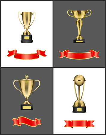 Awards trophies and red empty ribbons. Prizes in form of cup with handles placed on pedestal. Globe with laurel branches on top isolated on vector