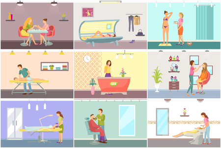 Cosmetic and spa center interior with equipment cartoon vector set. Solarium and hairdressing, massage and manicure, medical procedure in beauty salon