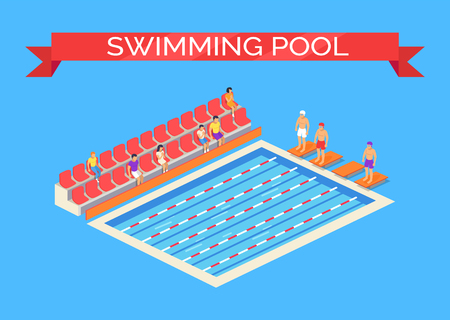 Swimming pool and sportsmen poster with text on ribbon. Swimmers wearing goggles ready for competition. Viewers sitting on seats watching them vector Reklamní fotografie - 127533477