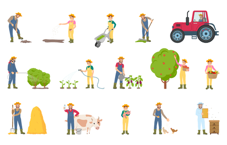 Farmer busy with seasonal work isolated icons vector. Spraying of bushes, cultivation and fertilizing soil. Harvesting breeding of cows, pigs chickens