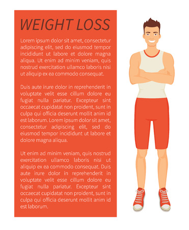 Weight loss man poster and text sample. Person with strong body smiling, bodybuilder with slender figure and healthy look. Strong muscular guy vector