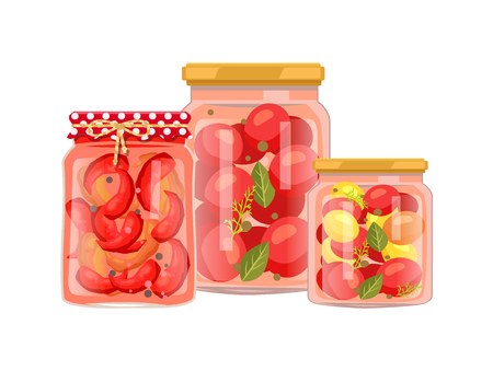 Vegetables granny preparation or conservation poster. Vector pickled peppers with peppercorn, canned tomatoes with bay leaf in big and small bottle. Çizim