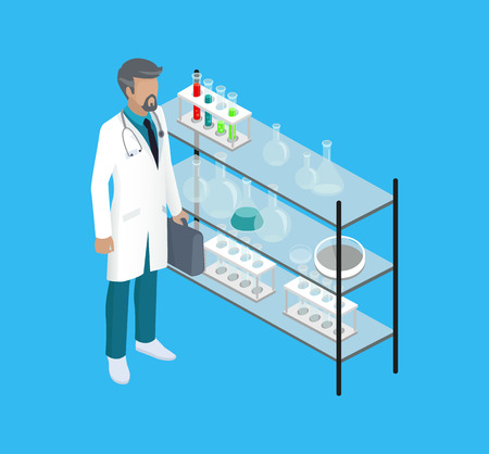 Medical worker doctor in lab. Man holding briefcase with substances analyzing liquids poured in test tubes. Containers and bulbs on glass stand vector