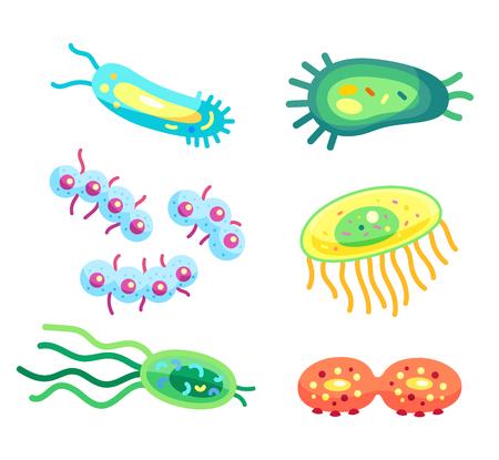 Células del virus del primer de las bacterias, iconos del vector de los microbios. Microorganismos coloridos con colas largas, orgánulos y flagelos, gérmenes enteros y divisibles aislados Ilustración de vector