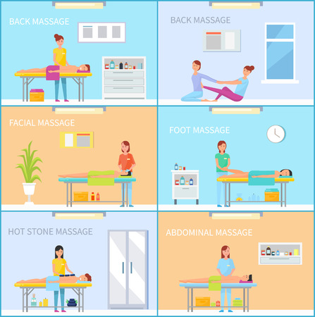 Foot and facial, abdominal and back, on couch and on rug pleasant treatment. Massage therapy session in room with equipment cartoon vector banner set.