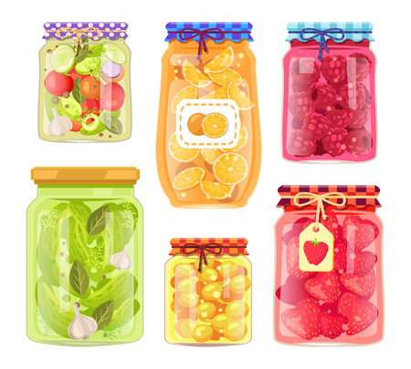 Preserved food homemade jars and tags stickers. Pickled vegetables cucumbers and tomatoes. Raspberries and strawberries oranges cherry-plums vector Ilustração
