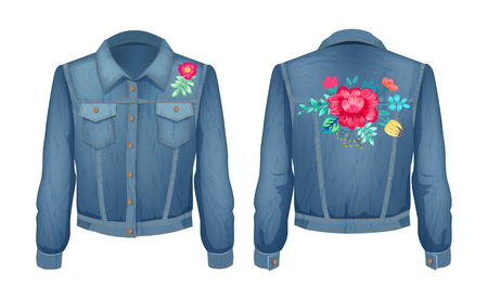 Shirt with floral patches. Flowers in blossom with petals and leaves. Jeans jacket decorated with plants fashion, isolated on vector illustration
