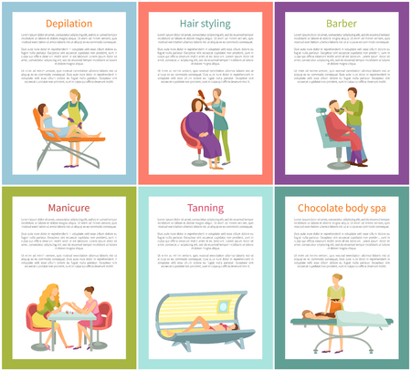 Depilation and hair stylist, manicure and chocolate procedure barber and tanning. Posters set with text sample, changing of skin color and care vector