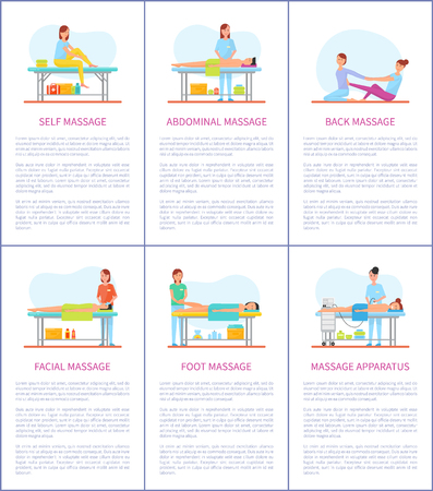 Facial and self massage, abdominal and belly care. Posters set with text, people relaxing on table of masseuse. Apparatus skincare and health vector