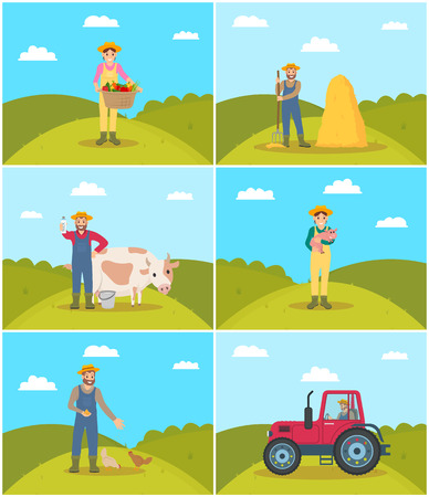 Farmer with wicker basket set vector. Hayfork held by man, farming woman harvesting on field holding vegetables. Person with cow, piglet and hens