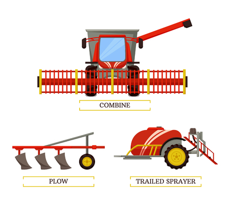 Combine and plow, trailed sprayer with tank and liquid isolated icons set vector. Machinery for farming and agriculture. Plough husbandry devices 向量圖像