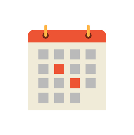 Calendar dates and days isolated icon vector. Pages on binder, highlighted events and upcoming meeting, appointments. Reminder of time, schedule timetable