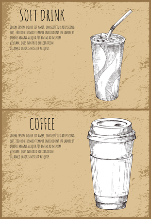 Soft drink and coffee cup monochrome sketches posters. Fast food drinks, cocktail with straw and hot beverage vector illustration portable espresso and mocha Çizim