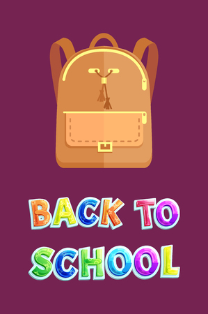 Back to school poster, leather beige backpack. Stylish female rucksack for pupils with front pocket, tassels and golden zipper vector illustration. Zdjęcie Seryjne - 127533505