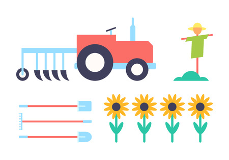 Scarecrow and tractor agrimotor set of icons closeup. Automobile with farming plough and spade sunflower plants flowering farm isolated on vector Illustration
