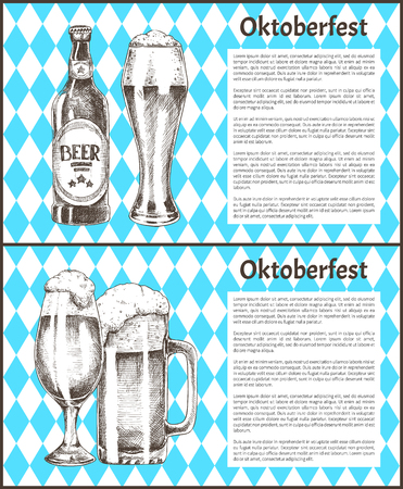 Oktoberfest beer objects set hand drawn icons. Full tumblers with flowing foam and closed bottle on blue and white rhombuses vintage vector template Illustration